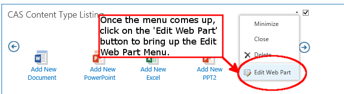 Content Type Listing - Click on Edit Web Part