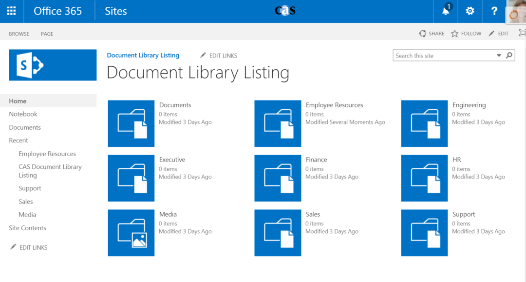 Document Library Listing
